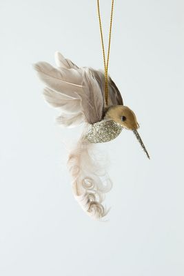Anthropologie Glitter Drop Hummingbird Orn